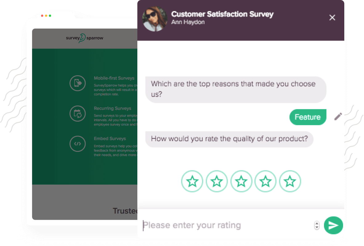 Create chatbots to collect website feedback from visitors. Capture visitor feedback then and there with the chatbot.