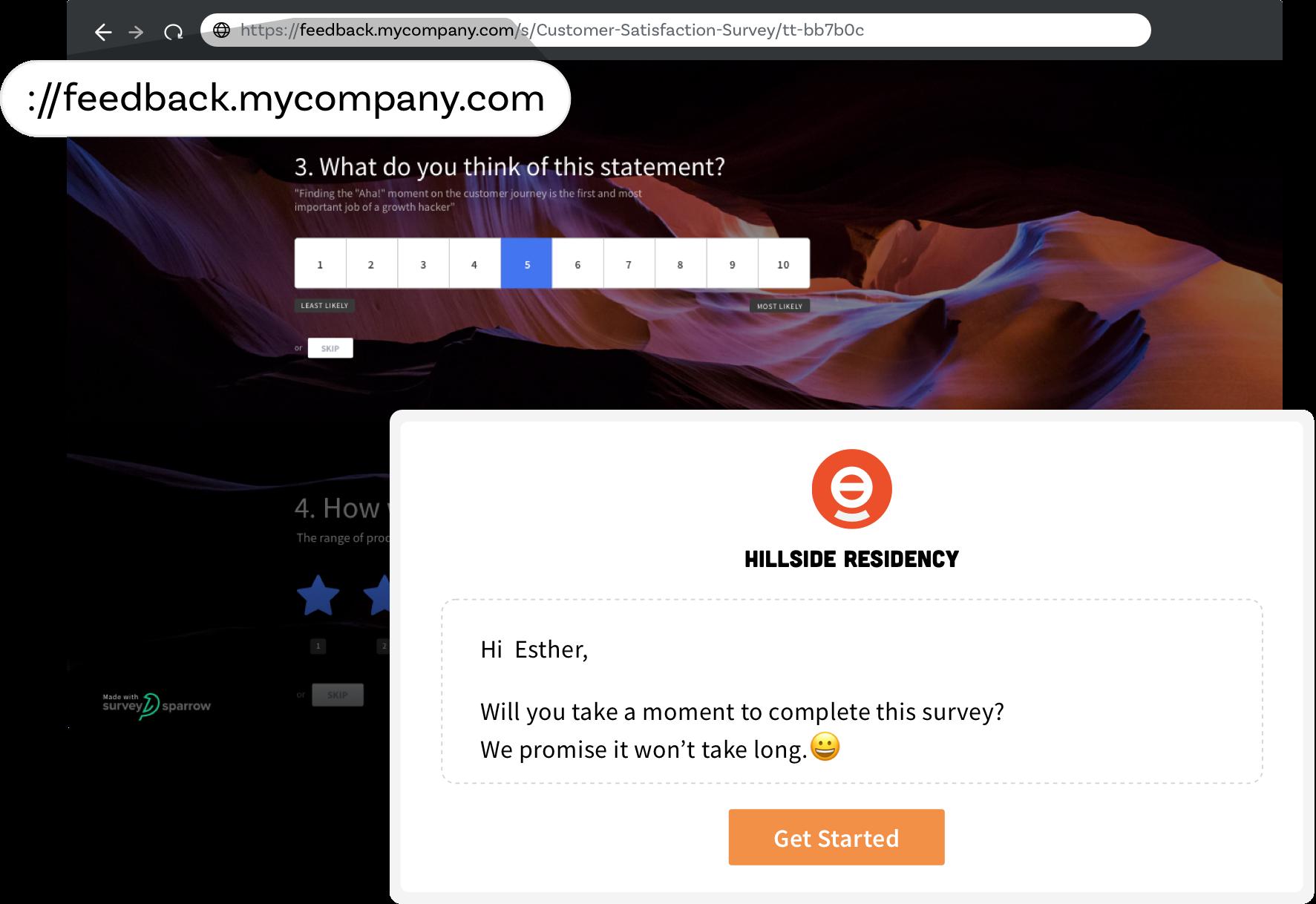 SurveySparrow offers white-label feature to brand your surveys.