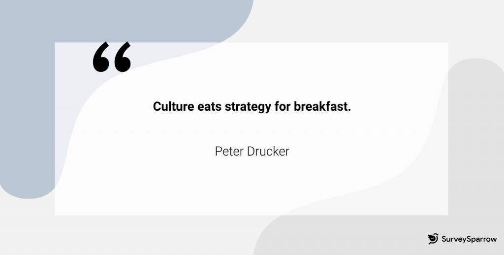 Culture eats strategy for breakfast - Peter Drucker