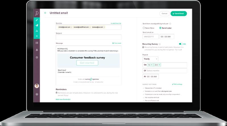 Schedule and send automated pulse surveys using SurveySparrow's recurring survey feature.