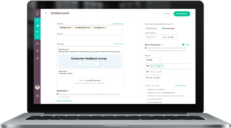 Send out periodic online surveys automatically using Wufoo Alternative SurveySparrow's recurring feature.