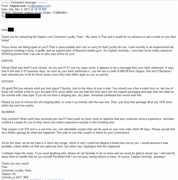 zappos customer support response