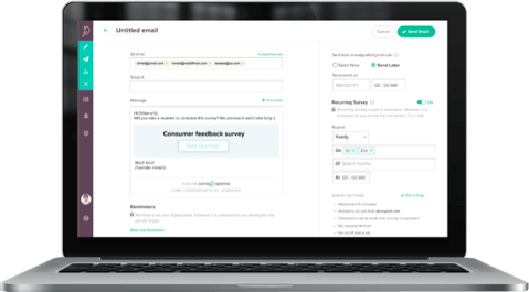 SurveySparrow helps to share email surveys easily, making it the wisest choice for Google Forms alternative.