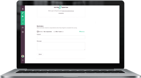 Send reminder mails to gently urge your respondents to finish the online surveys, with Google Forms alternative SurveySparrow.