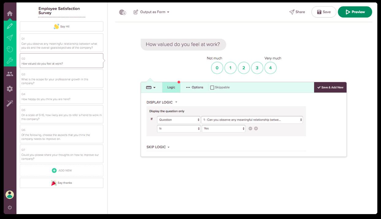 Best Online Survey Software Feature #1: Display Logic