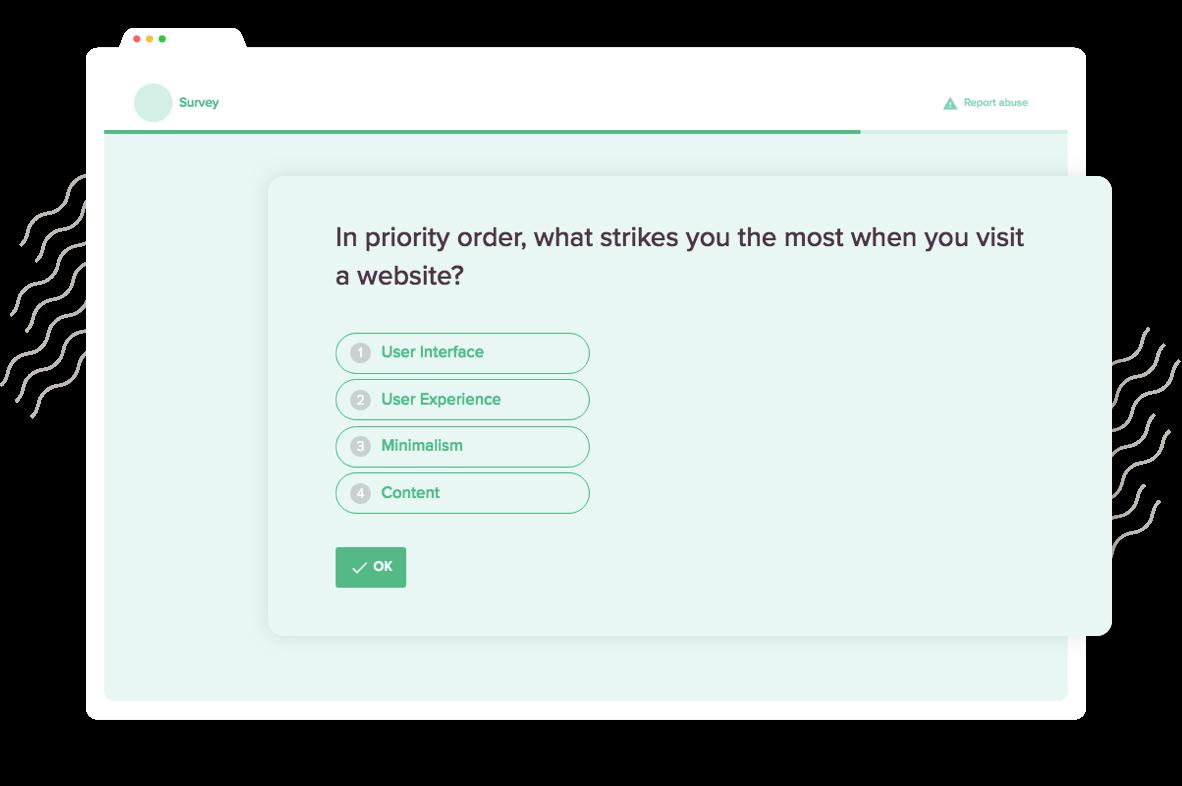 SurveySparrow's Conversational Form allows you add Rank Order question type.