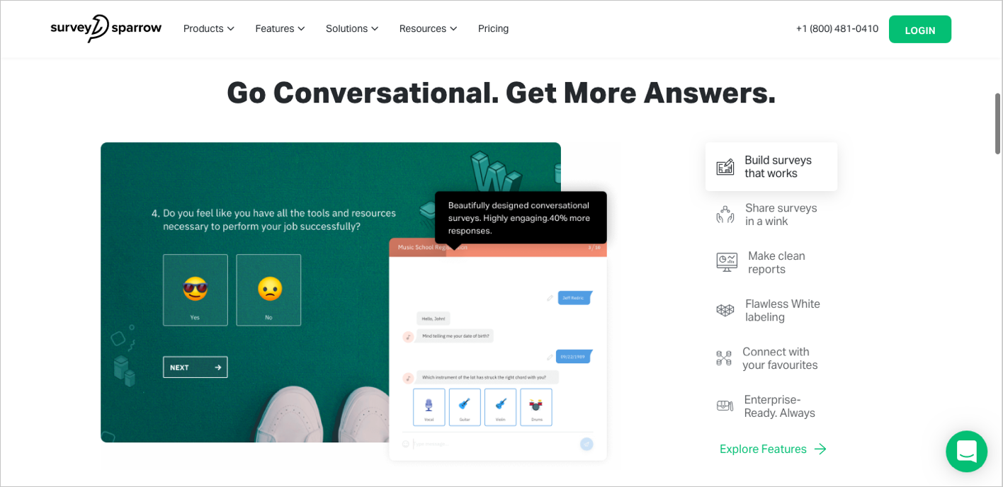SurveySparrow is among the best online survey tools there is. It turns bland surveys into engaging conversations.