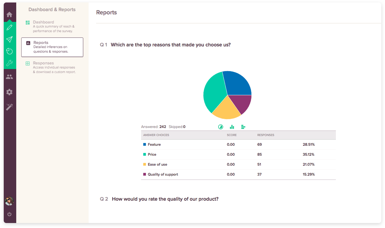 Free Survey Tool Feature #3: Powerful Reporting Options