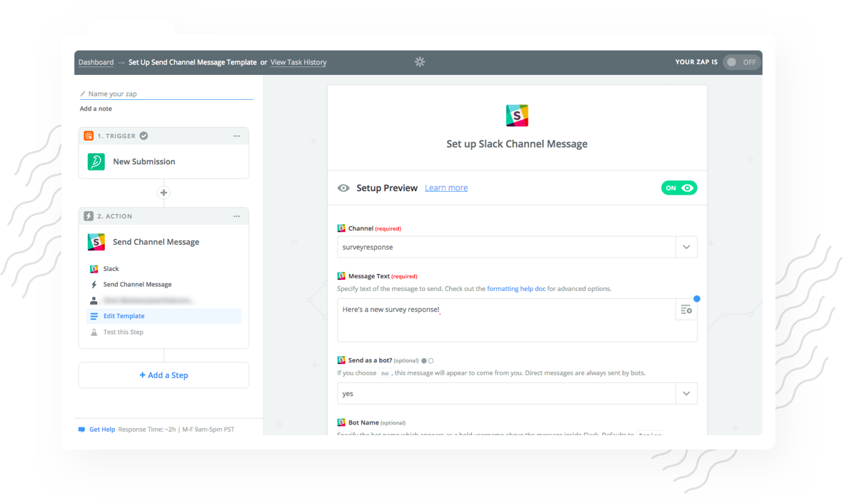 Update a Particular Channel When Response is Added using Slack Integration with SurveySparrow.