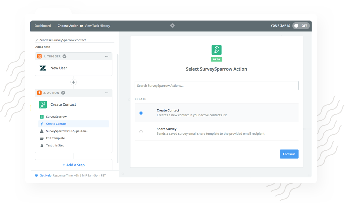 Zendesk Survey Integration with SurveySparrow enables you to automatically add new contacts to SurveySparrow.