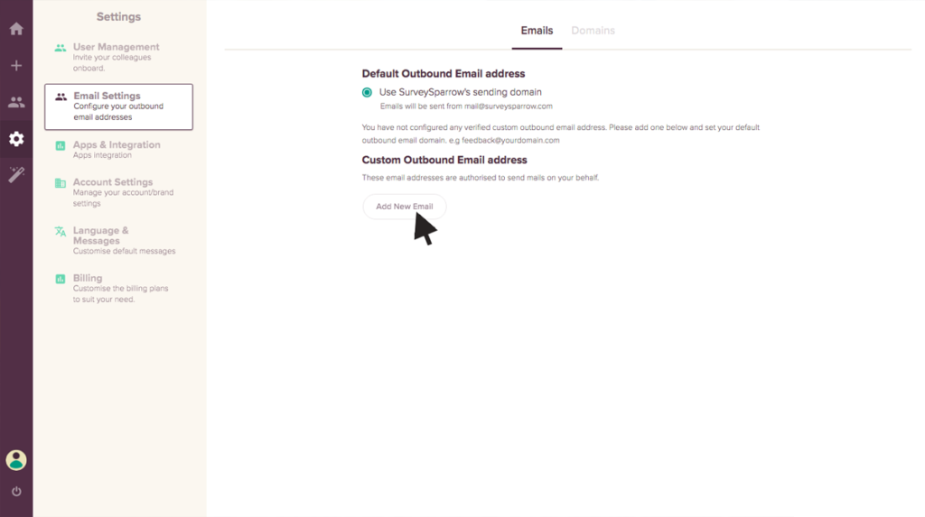 Custom Email Address to send out your email surveys.