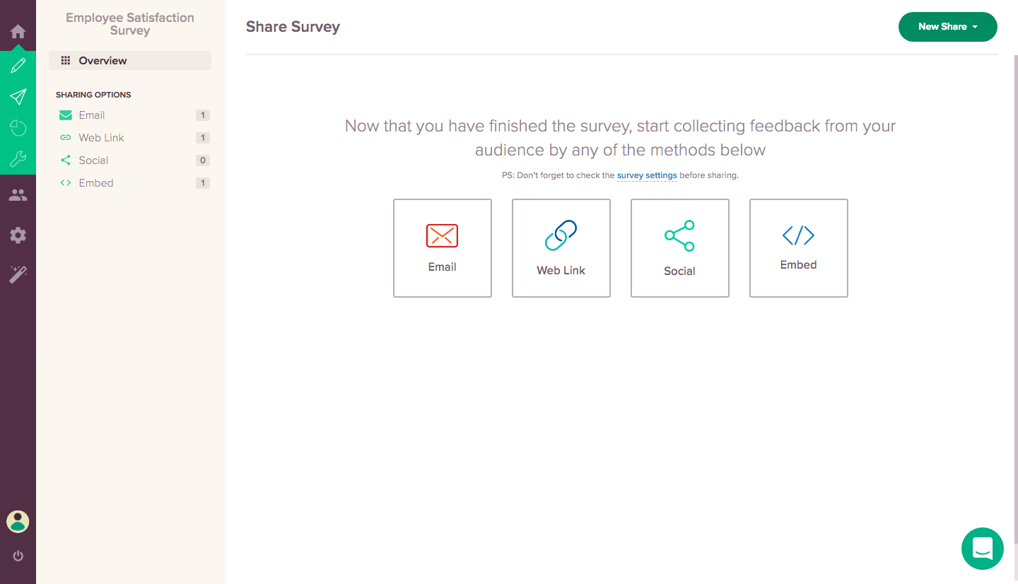 Free Online Survey Maker Feature #3: Share Options.