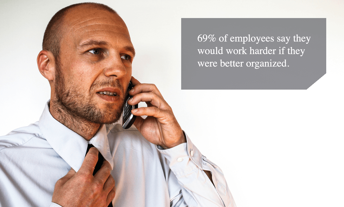 high employee turnover-69% of employees say they would work harder if they were better organized.