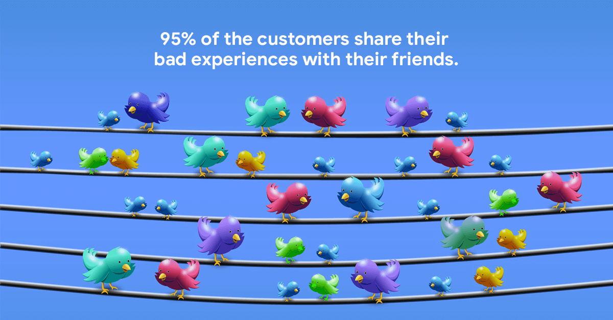 95% of the customers share their bad experiences to their friends.