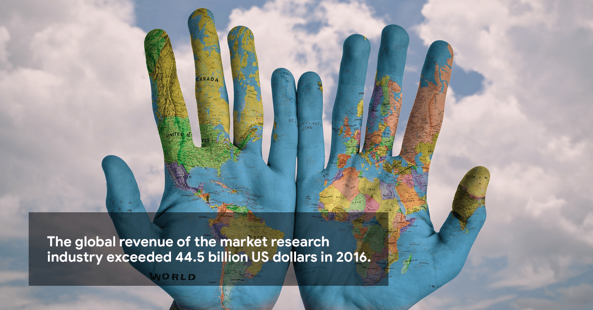 The global revenue of the market research industry exceeded 44.5 billion US dollars in 2016.