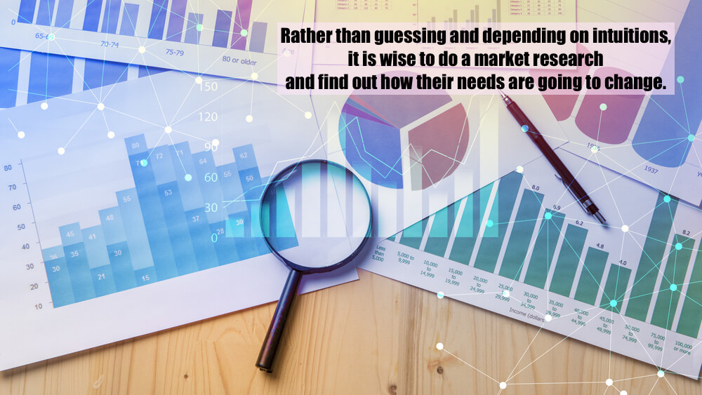 Rather than guessing and depending on intuitions, it is wise to do a market research and find out how their needs are going to change.