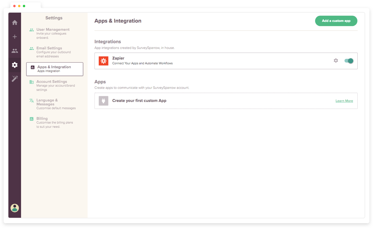 Integrate NPS tool with other third-party tools.