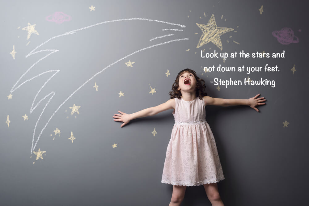 Look up at the stars and not down at your feet.