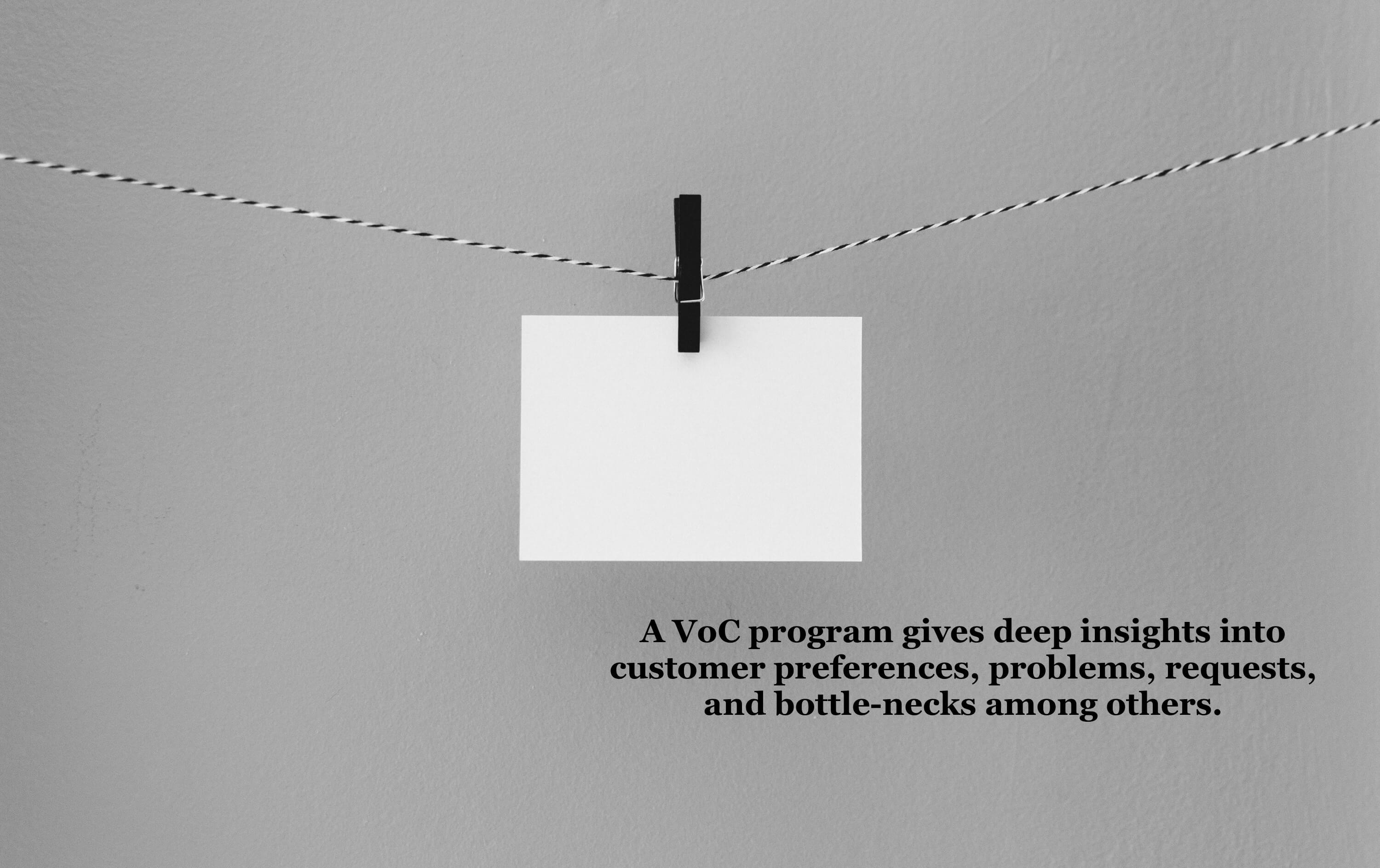 A VoC program gives deep insights into customer preferences, problems, requests, and bottle-necks among others.
