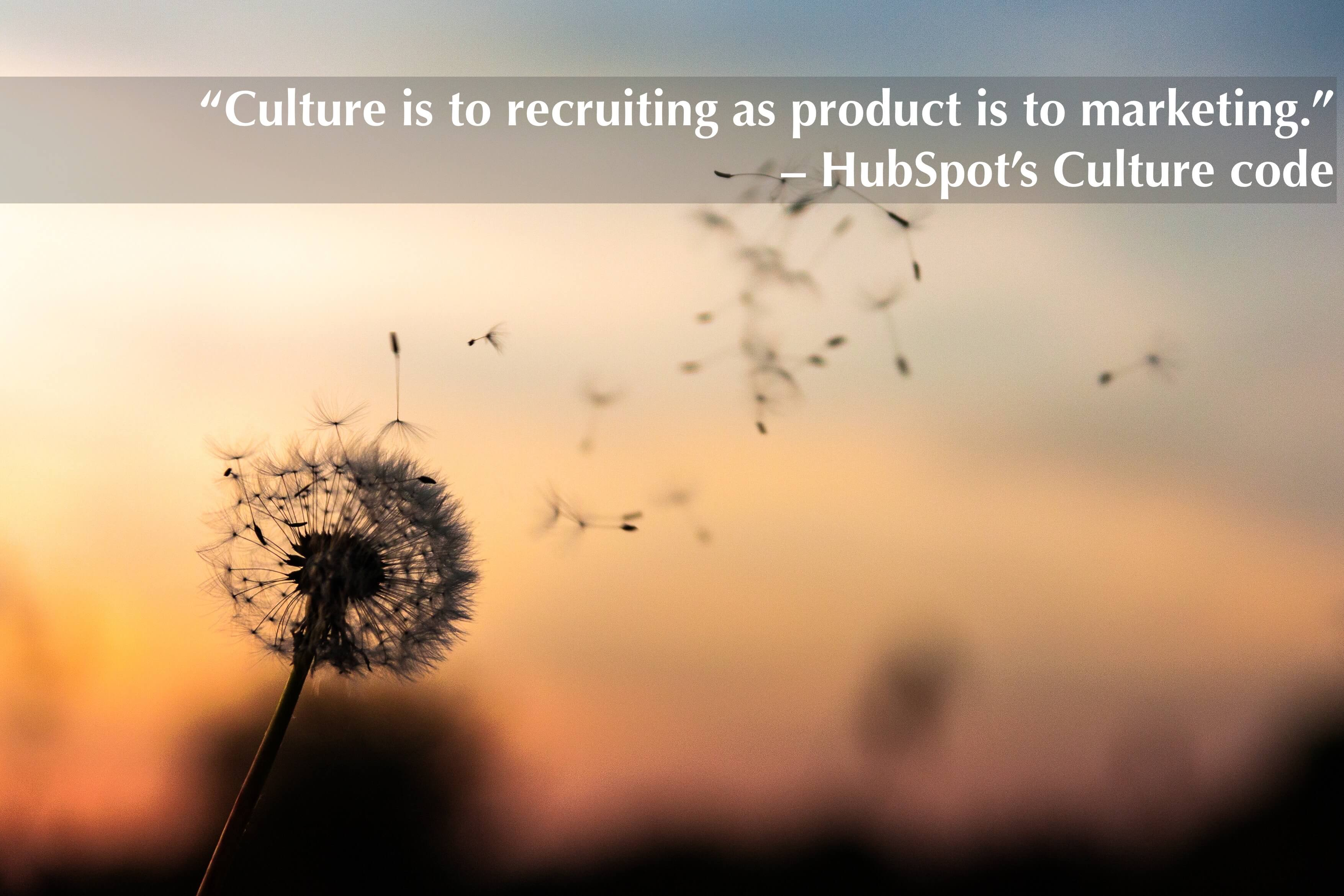 """Culture is to recruiting as product is to marketing."" – HubSpot's Culture code"