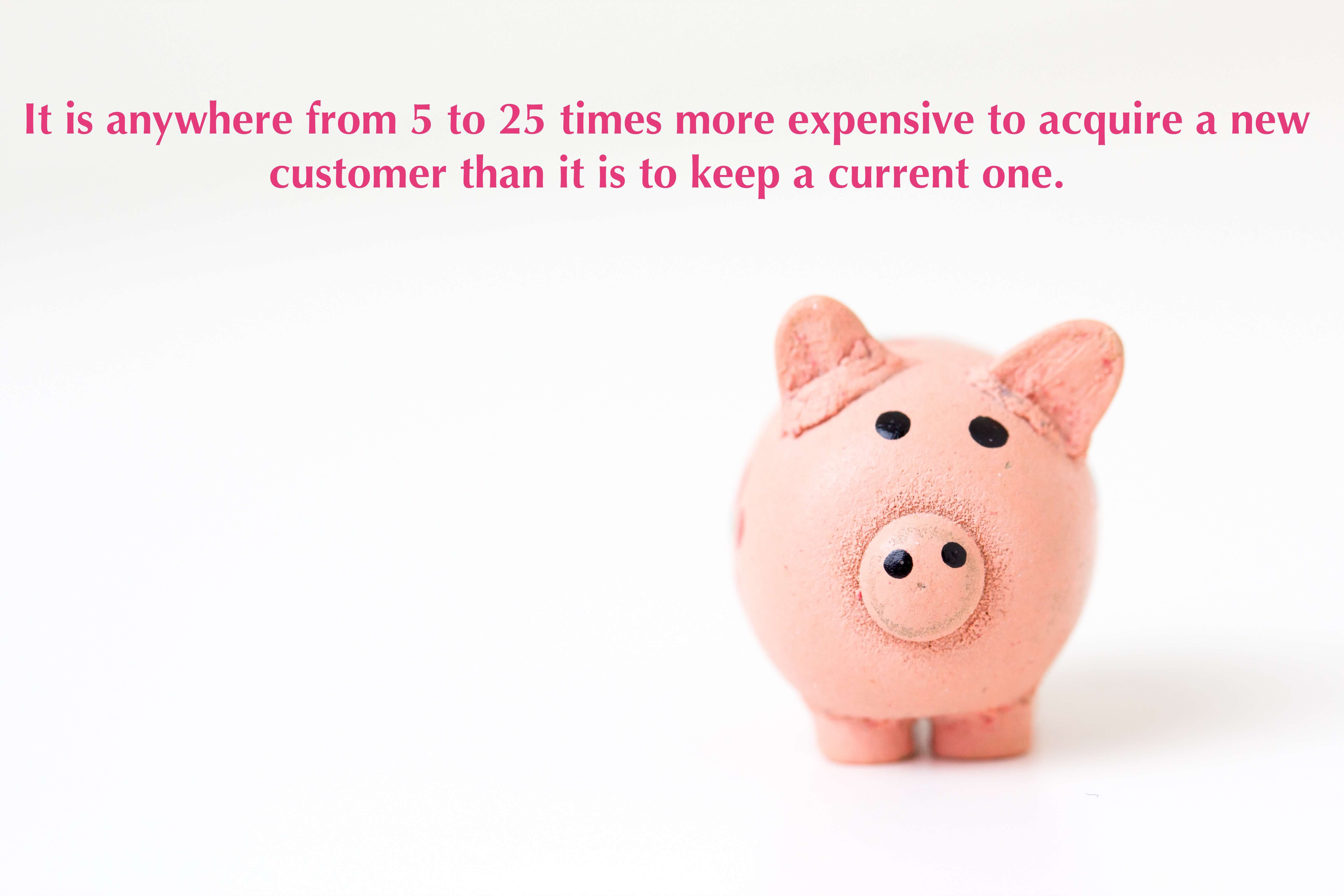 It is anywhere from 5 to 25 times more expensive to acquire a new customer than it is to keep a current one.