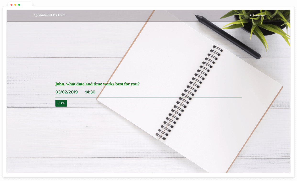 Get date inputs from your respondents using date question type.