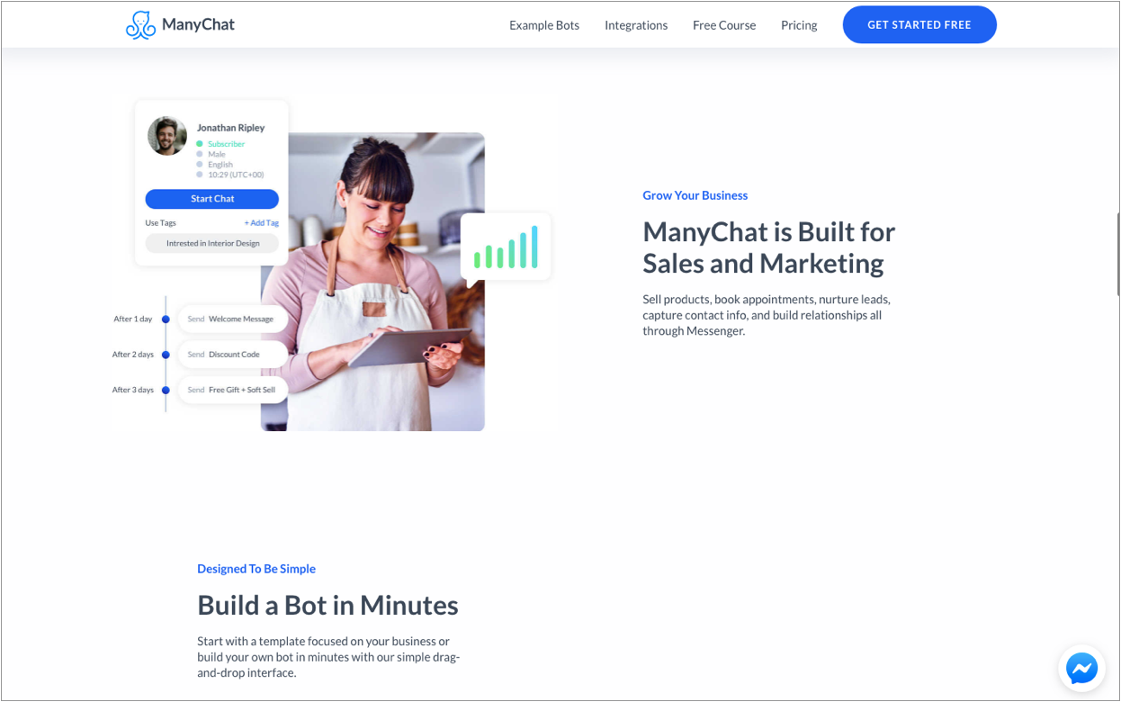 Manychat lets you create and own a chatbot under 2 minutes.