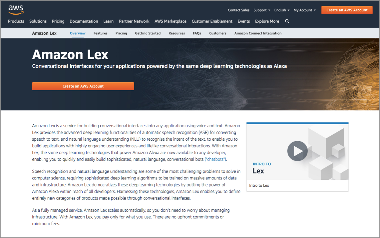 Amazon Lex bots work to carry out a specific 'intent' or an action that you want it to perform.