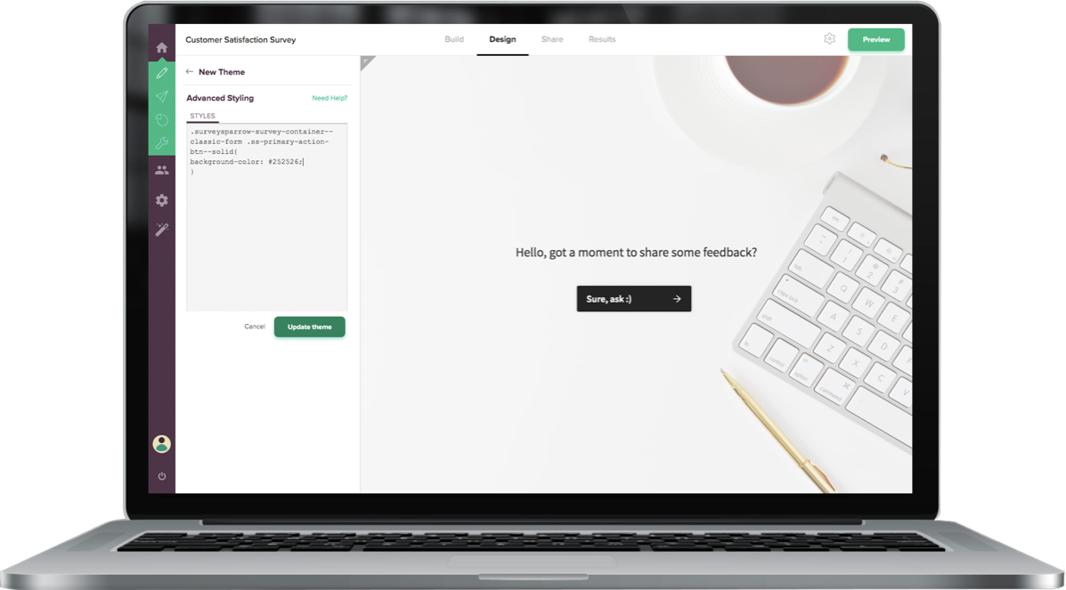 SurveyMonkey CX alternative SurveySparrow offers CSS customization to make online surveys visually-striking and more engaging.
