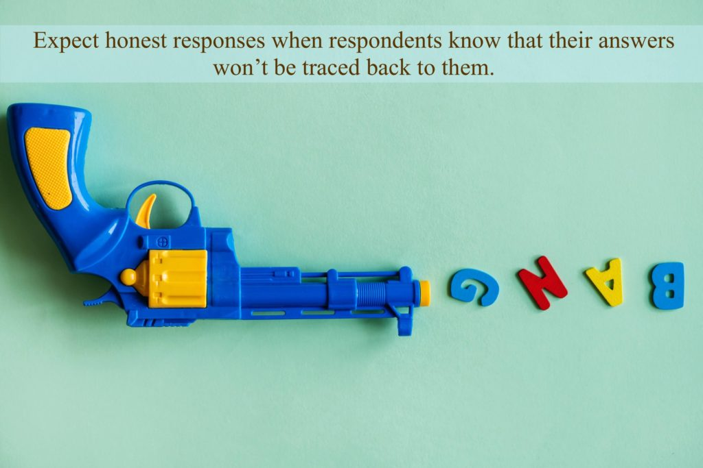 Expect honest responses when respondents know that their answers won't be traced back to them.