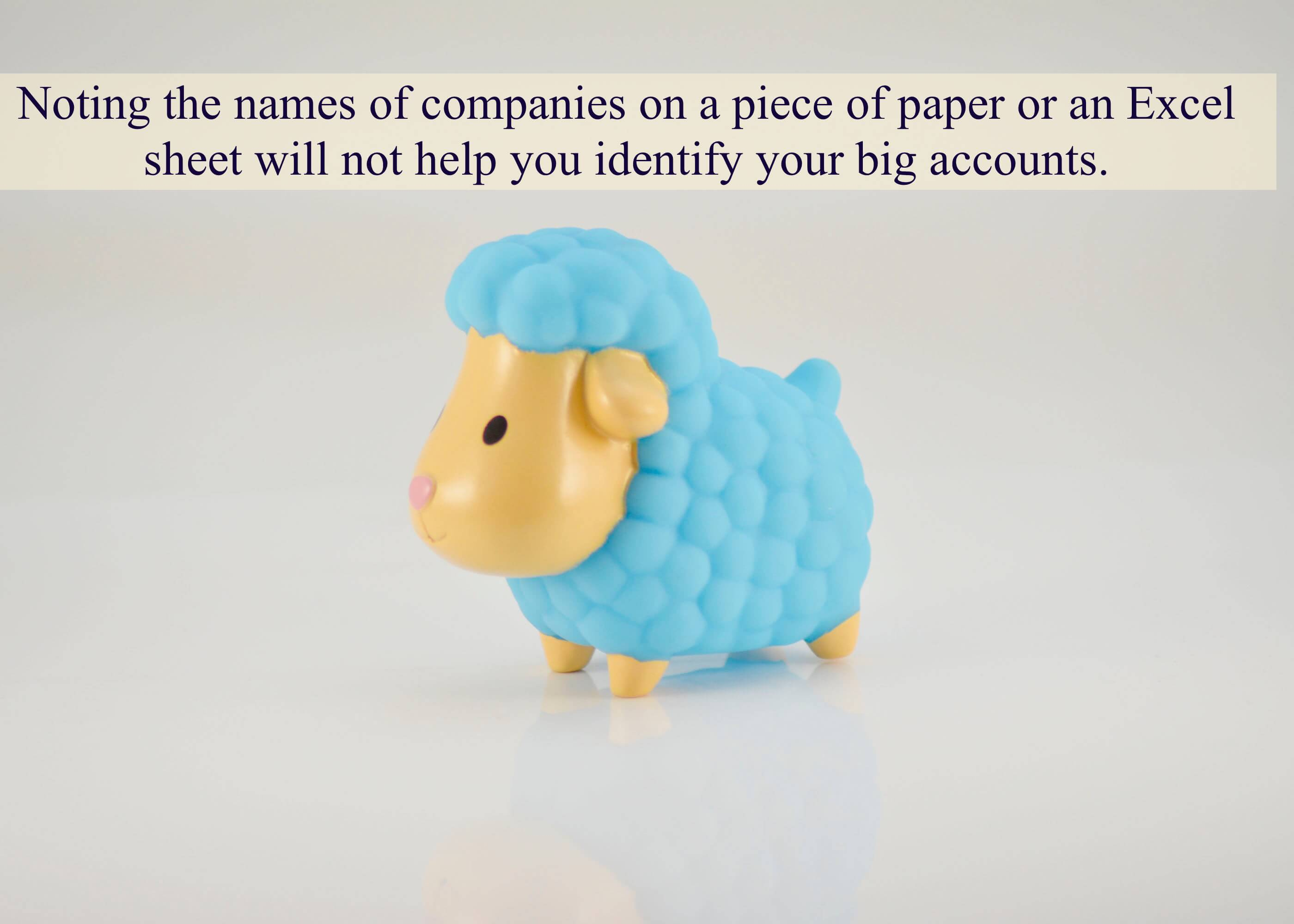 Noting the names of companies on a piece of paper or an Excel sheet will not help you identify your big accounts.