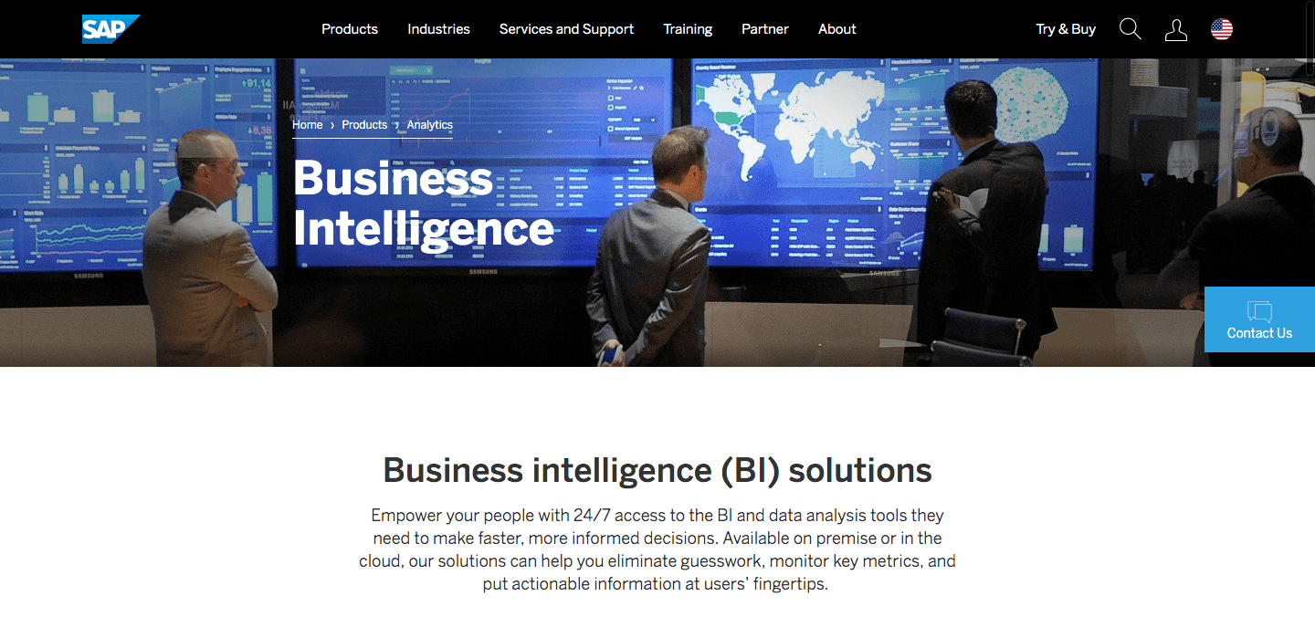SAP Business Intelligence offers real-time analytics and visualization of data to help you find business solutions and share the insights through interactive reports.