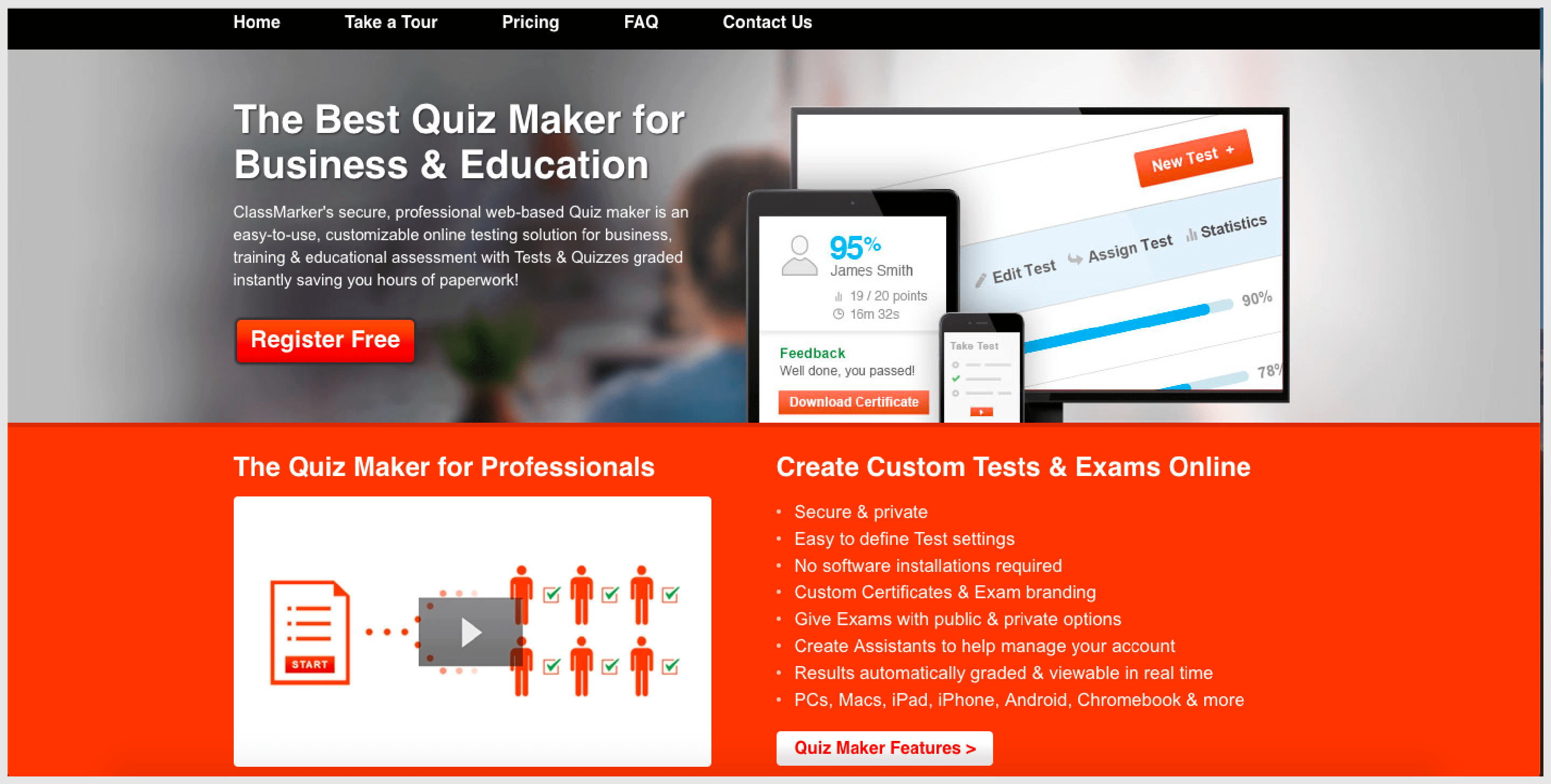 ClassMarker is an online quiz maker that is mainly dedicated to teachers and business organizations.