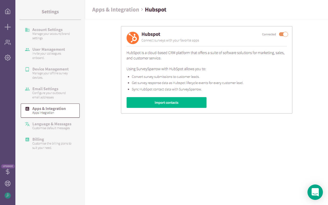 Hubspot Integration With SurveySparrow.