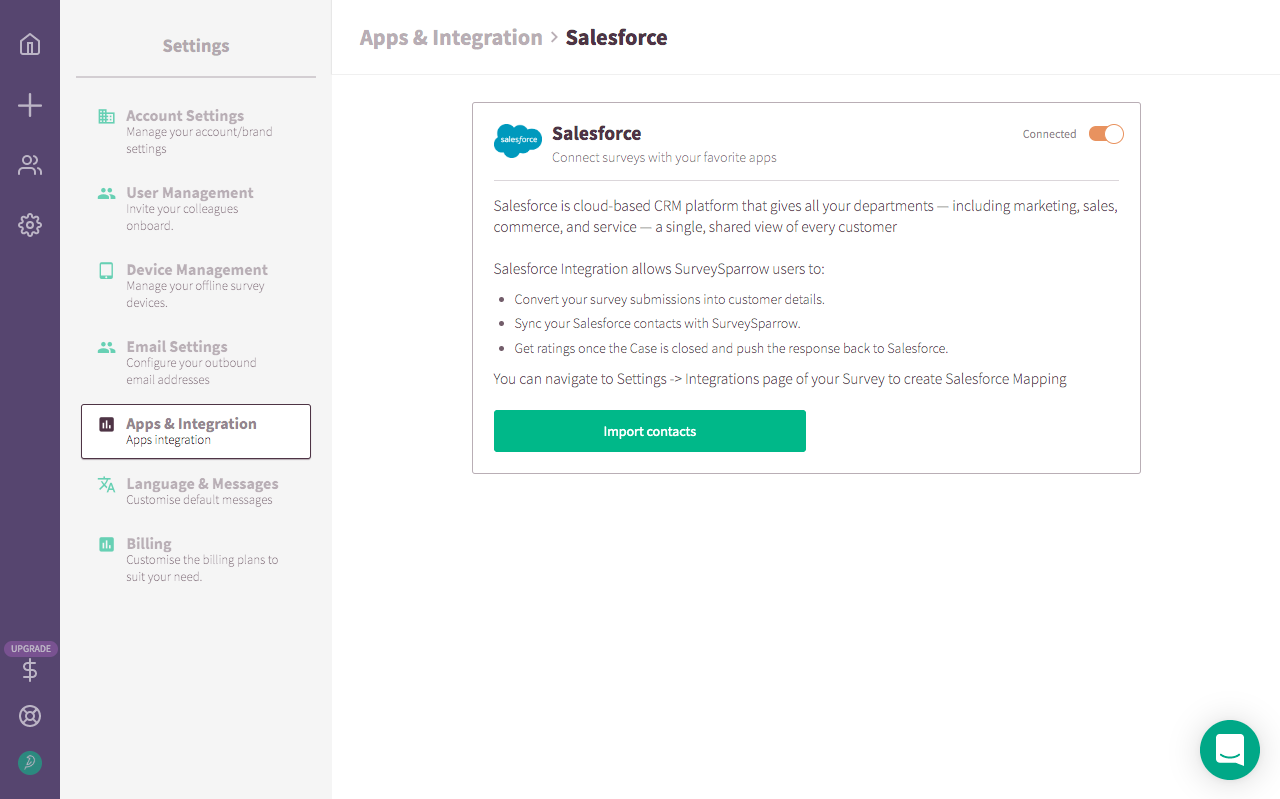 Salesforce Integration With SurveySparrow.