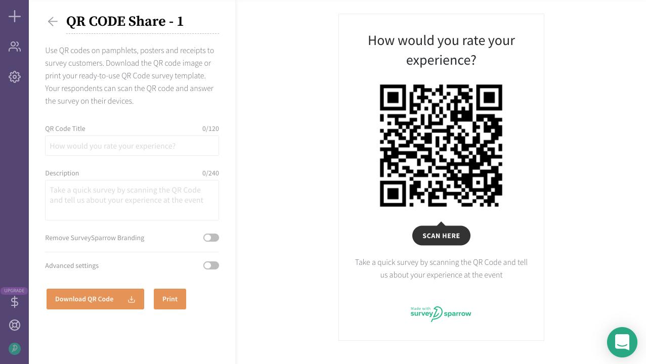 Share your surveys via QR codes.