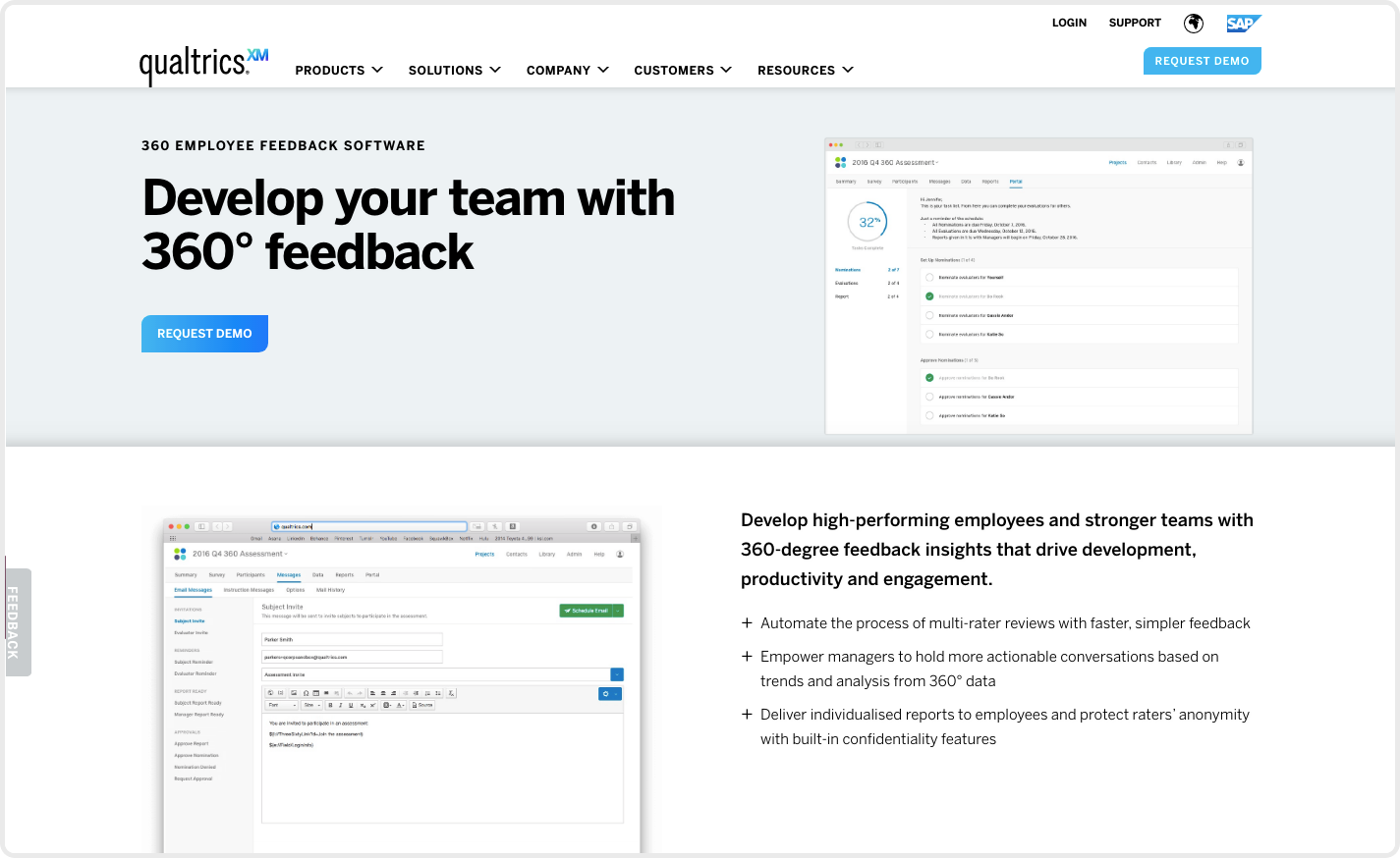 The experience management company, Qualtrics offers 360 feedback as part of their Employee XM.