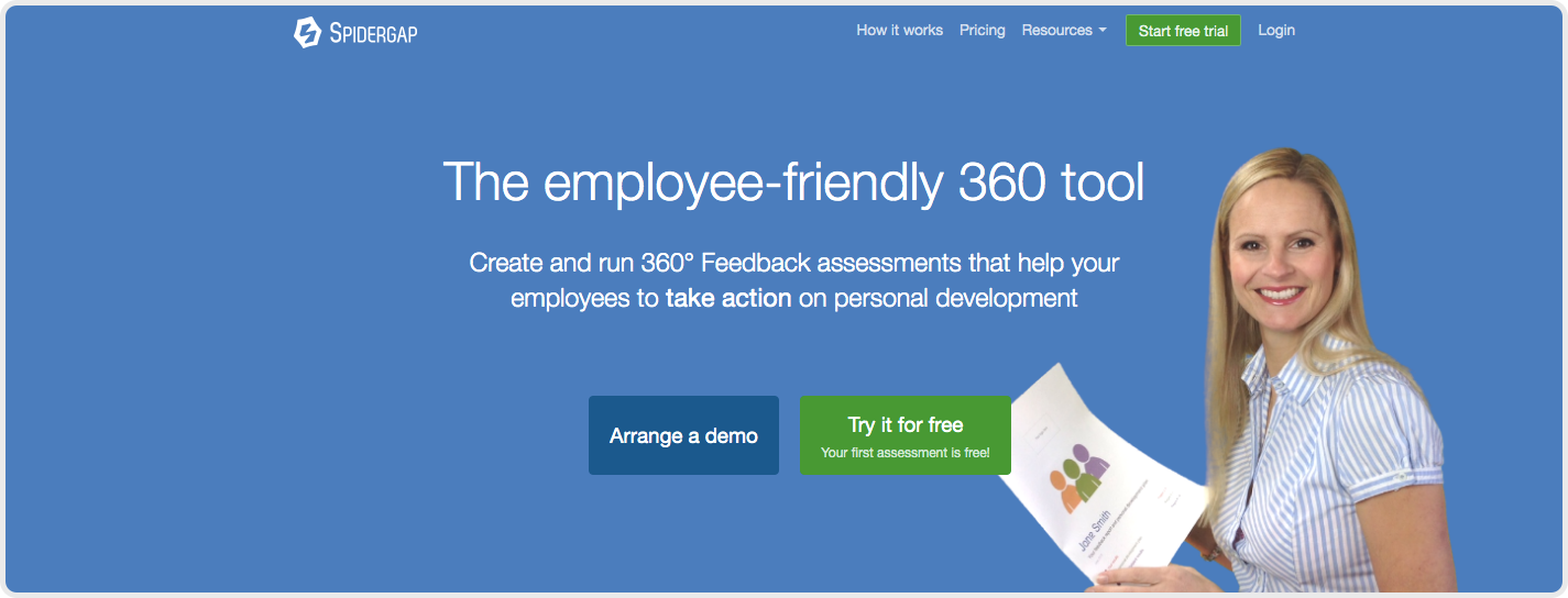 SpiderGap is a cloud-based software that dedicates itself to 360 feedback and employee assessment.