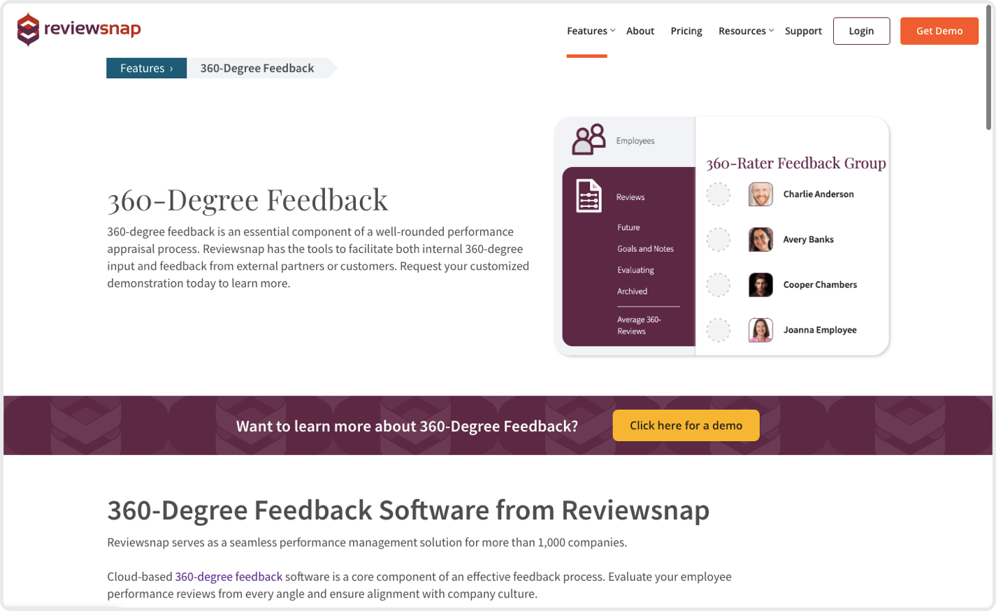 Reviewsnap is one of the best 360 feedback tools that provide an array of job-specific templates to level-up your feedback.