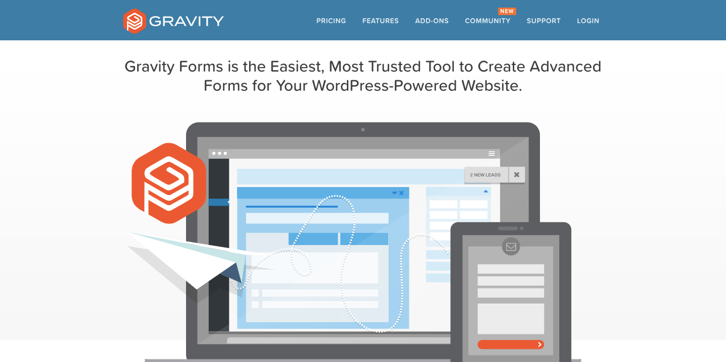 Gravity Forms is an online form builder that creates efficient forms for your WordPress powered website.
