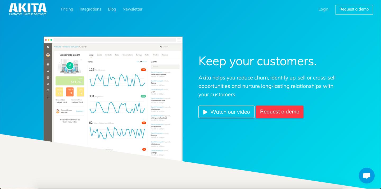 Akita offers plenty of features like 360-degree customer view, customer segmentation, customer lifecycle management, customer health scores and analytics.