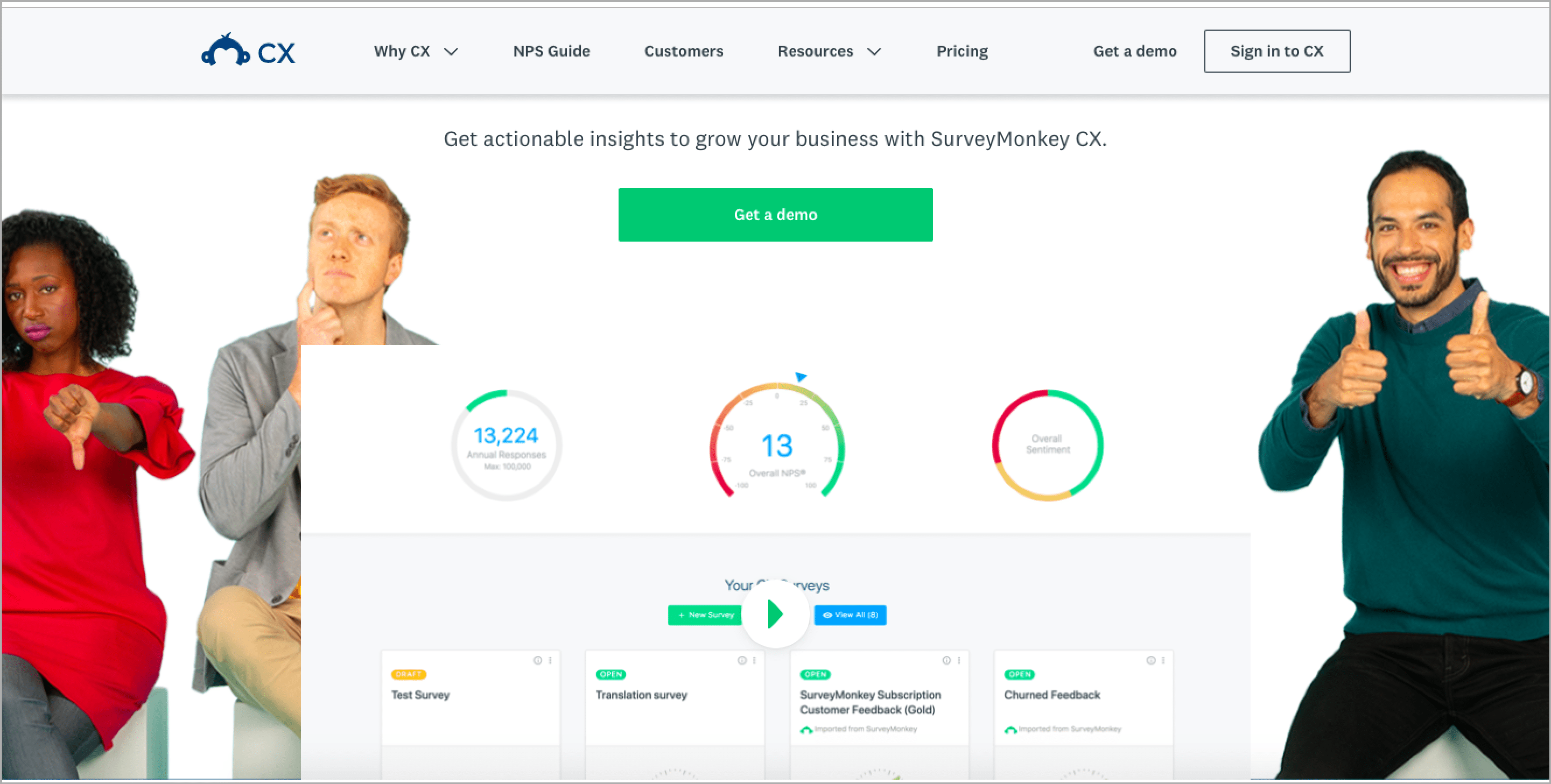 SurveyMonkey CX is an NPS solution that facilitates customer loyalty, experience and online reputation management.