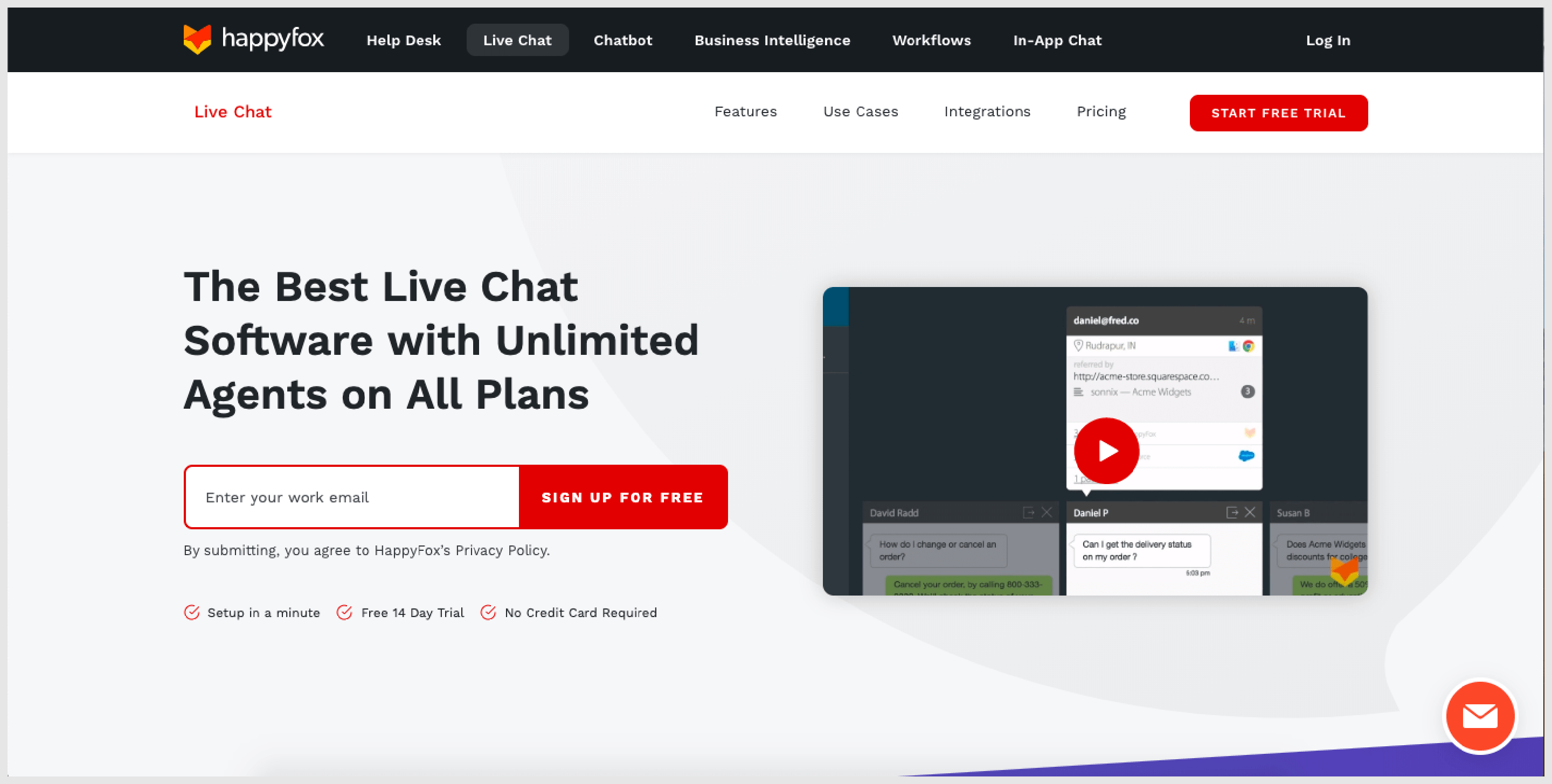 HappyFox has solutions for almost every aspect of customer service including live chat.