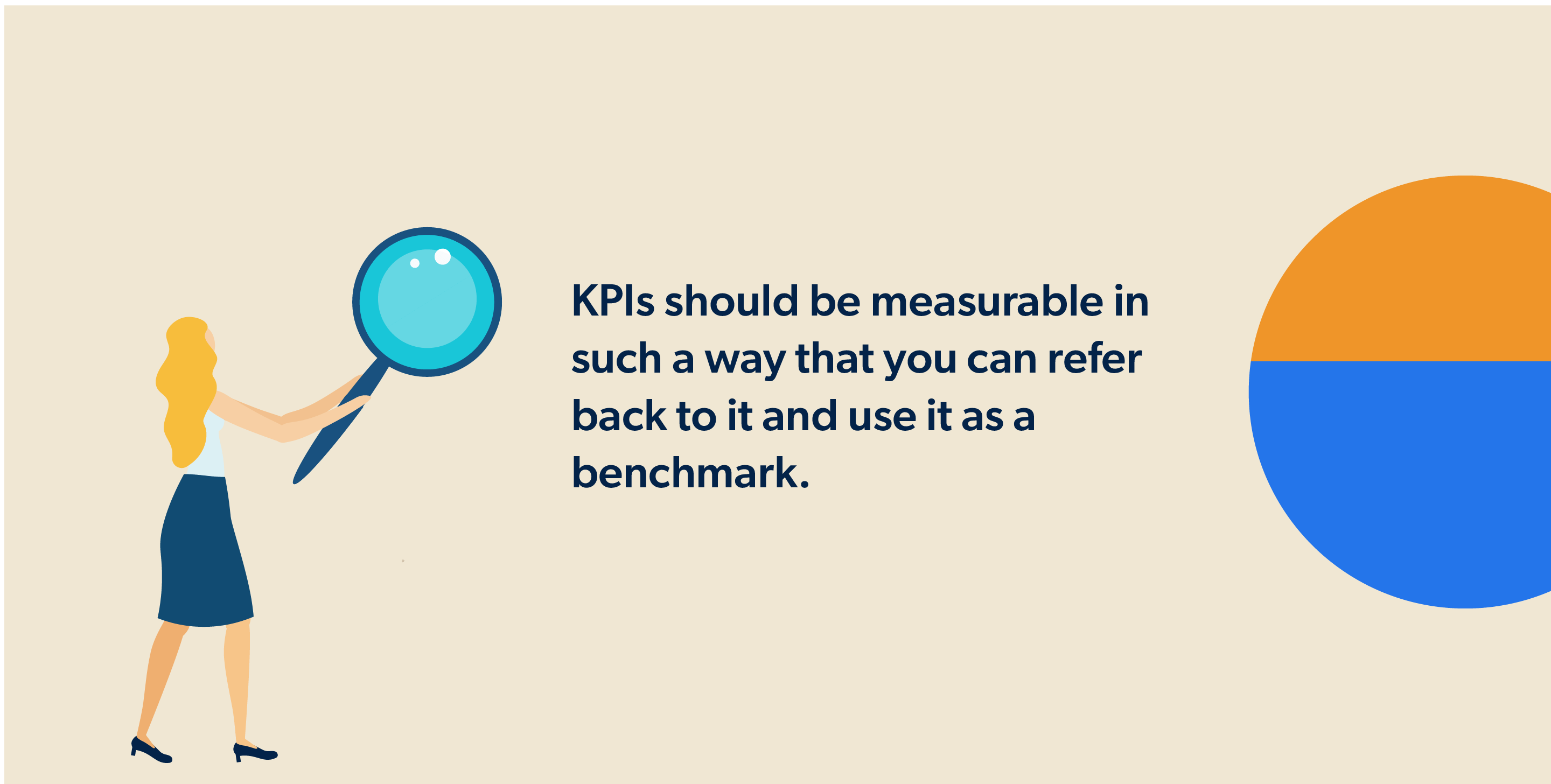 KPIs should be measurable in such a way that you can refer back to it and use it as a benchmark.