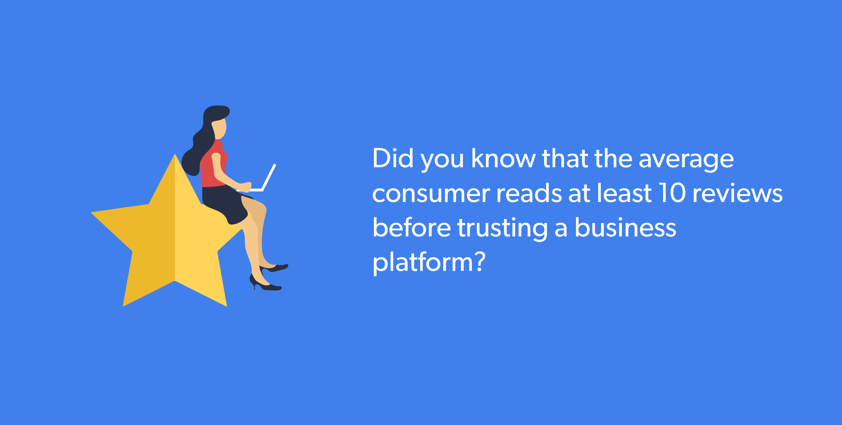 Average consumer reads at least 10 reviews before trusting a business platform.