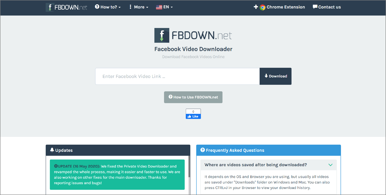 Web Application for Downloading Facebook Videos.
