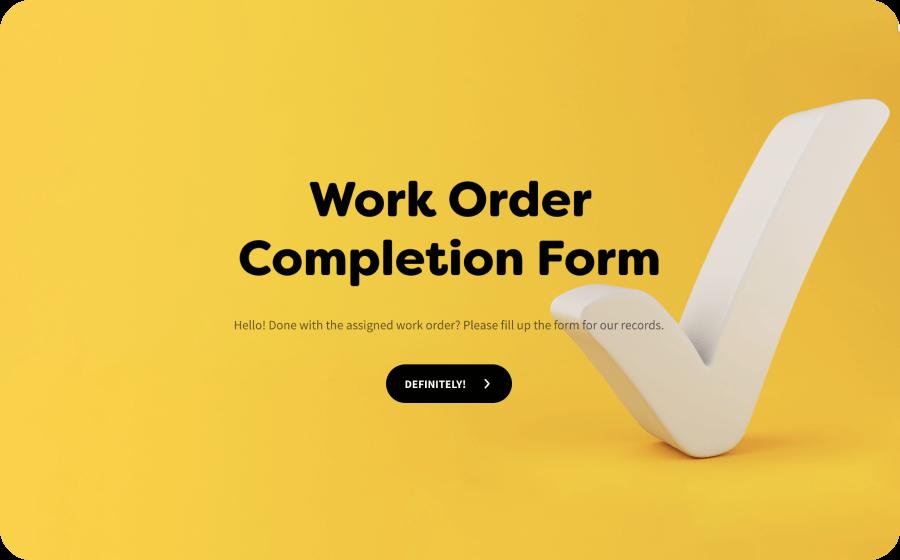 work order completion form template