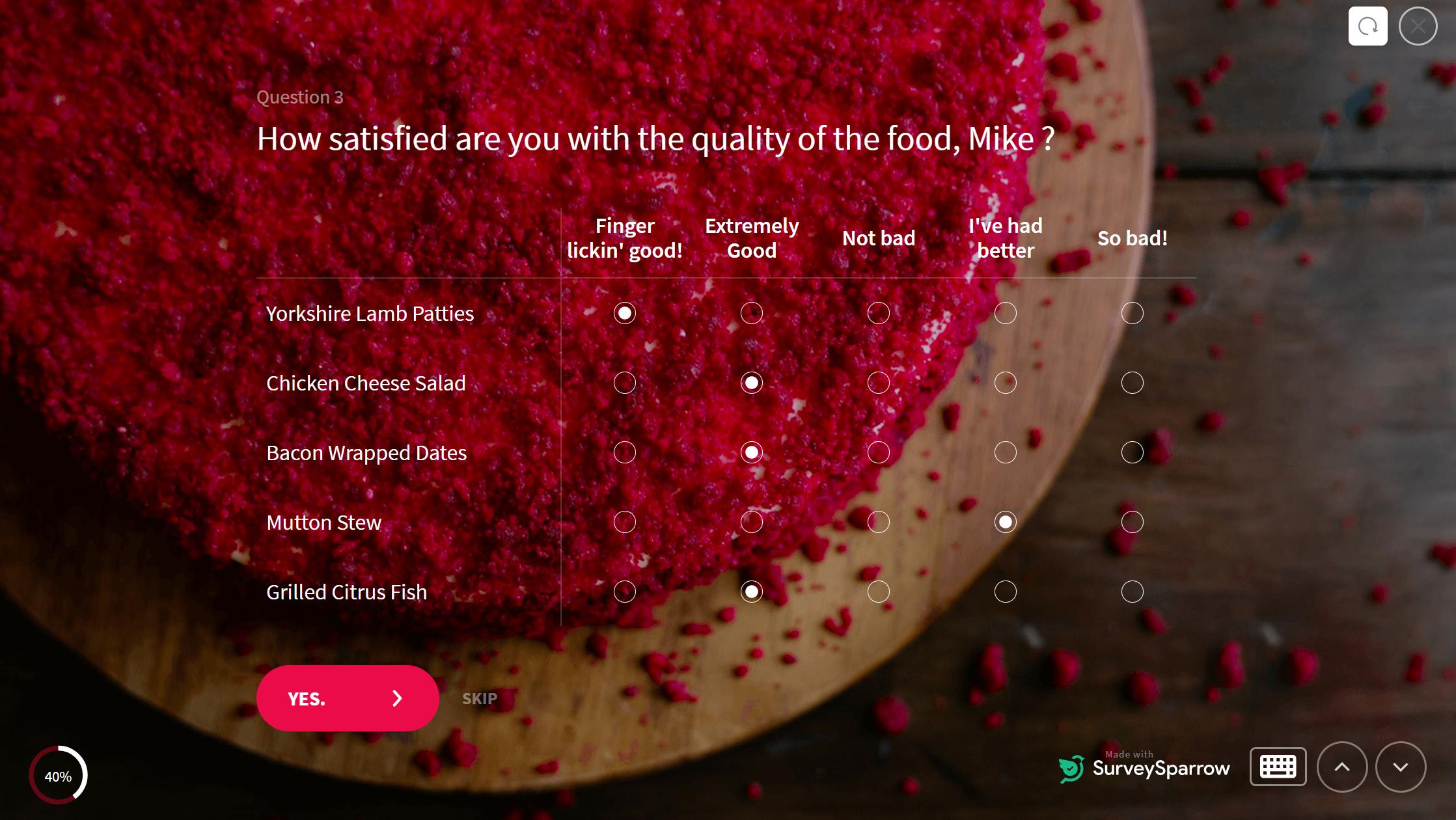 likert scale in restaurant feedback survey