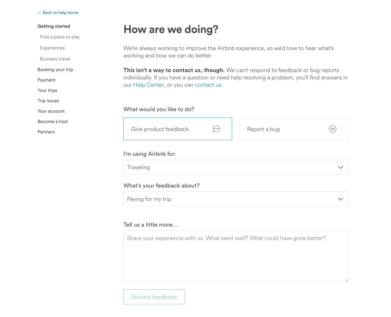 airbnb feedback form example