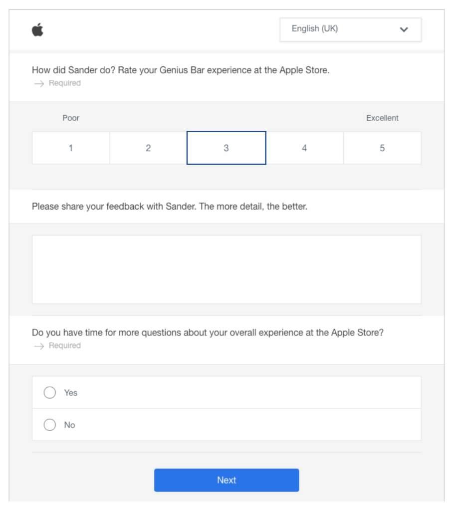 apple feedback form sample